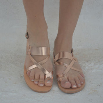 Unisex leather sandals! Rose gold strap sandals, Greek leather sandals, strap leather women's sandals genuine leather sandals/metallic shoes