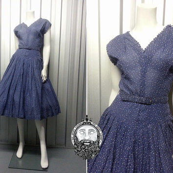 Vintage 50s Polka Dot Full Skirt Dress Cap Sleeve Spotted Dress Navy Blue 1950s Dress Plaid Pattern Tartan Fabric Checked Gingham Spot Print
