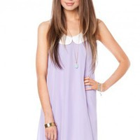 Mignon Chiffon Peter Pan Dress in Lilac- ShopSosie.com