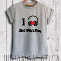i love music one direction shirt 1 direction merch tshirt gray and white color unisex size
