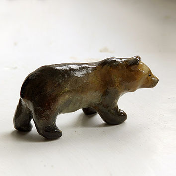 Animal Totem Brown Bear, bear totem figurine, brown home decor, tiny zoo, wild animals, woodland