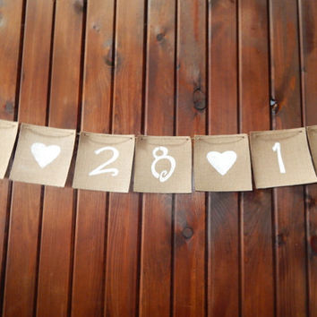 Burlap Banner - Burlap Wedding Banner - Burlap Date Banner - Rustic Wedding Decor