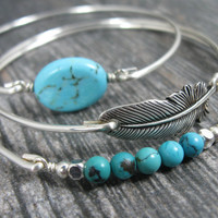 Bangle Bracelet Set,Turquoise Bangle Set, Silver Bangle, Set, Silver Feather, Turqoise, Turquoise Jewelry, Feather Jewelry, Western Jewelry