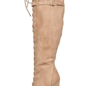 Lilah Lace Up Boot (Taupe Suede)-FINAL SALE