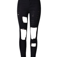 Black Cut Out Rips Detail Skinny Jeans
