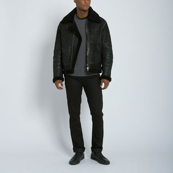 Nahariya Shearling Aviator Jacket in Black