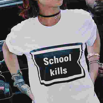 School Kills College University teen Fashion Ladies Casual trendy funny short sleeve tee t-shirt 001 tqi