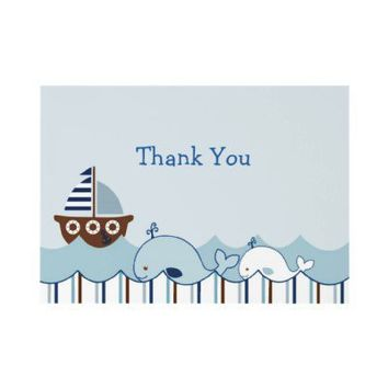 Nautical Whale Sailboat Thank You Note Cards Custom Invites from Zazzle.com