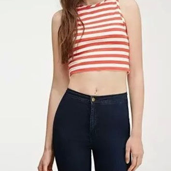 Striped Pattern Halter Sleeveless Crop Top