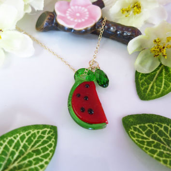 Watermelon glass green Swarovski crystal gold filled necklace
