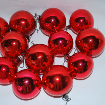 12 Red Round Christmas in Mercury Glass , Ornaments for the Tree