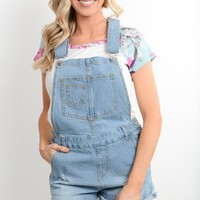 Light Wash Denim Short Overalls