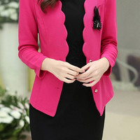 Pink Long Sleeve Open Front Blazer with Sleeveless Dress Twinset
