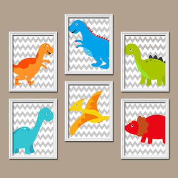 Dinosaur Wall Art Canvas Boy Dino Artwork Child Chevron Pattern Colorful Set of 6 Prints Baby Bedroom Decor