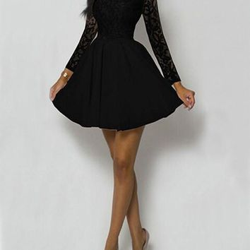 New Black Lace Pleated High Waisted Tutu Long Sleeve Sweet Homecoming Party Mini Dress