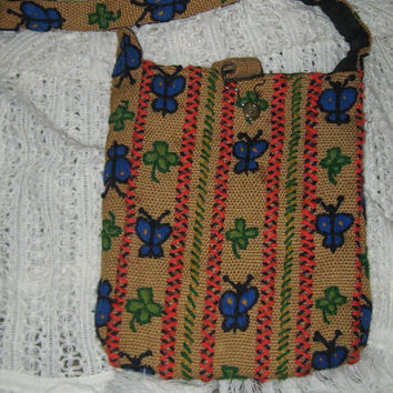 VINTAGE 1970 burlap hand embroidered colorful   flowers and butterflies tote shoulder bag