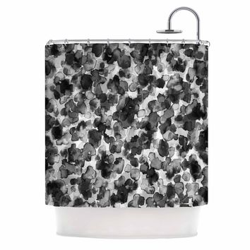 "Ebi Emporium ""WILD THING, GRAYSCALE"" Gray Black Animal Print Abstract Watercolor Mixed Media Shower Curtain"
