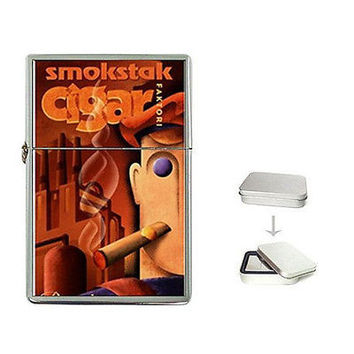 Vintage Poster Smokstak Cigar on a Flip Top Lighter w/ Box... NEW
