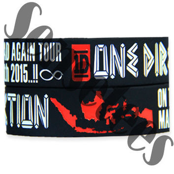 One Direction Bracelet 1D Tour Indonesia Bracelets Black and Red Color