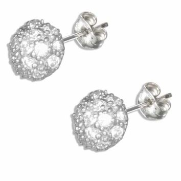 Sterling Silver Micro Pave Cubic Zirconia Half Round Button Earr e54314c63244
