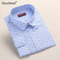 Dioufond Polka Dot Printed Blouse Shirt Women Long Sleeve Cotton Work Wear Blouses White Print Blusa Feminina Navy Top 2017