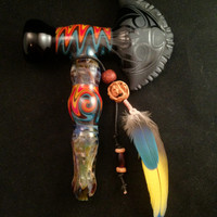 Tomahawk Fire and Ice Peace Pipe Hand Blown Glass Pipe by BoGlass