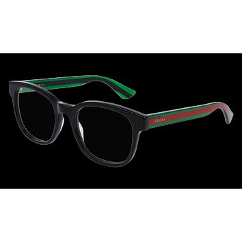 Gucci - GG0005O-006 Black Green Eyeglasses / Demo  Lenses
