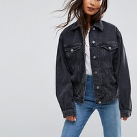 ASOS Denim Girlfriend Jacket in Washed Black at asos.com