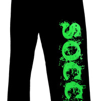 SOCCER Sweatpants in Black with Green Print