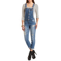 CROPPED RIPPED SKINNY OVERALLS