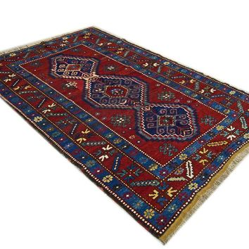 Oriental Kazak Vibrant Tribal Persian Rug, Red/Blue