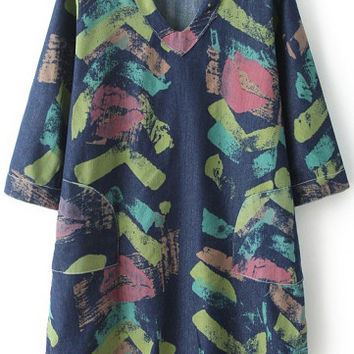 Blue V-Neckline Graffiti Print Denim Dress