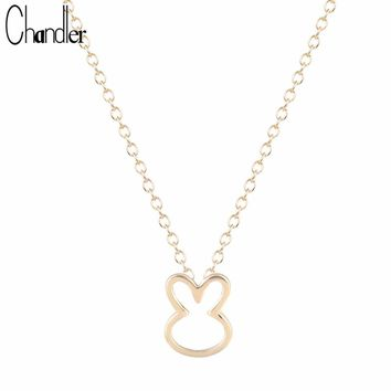 Chandler Silver Love Plated Cute Rabbit Bunny Pendant Necklaces For Women Lovely Animal Charms Chic colares longos com pingente