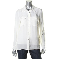 Marc by Marc Jacobs Womens Silk Sheer Button-Down Top