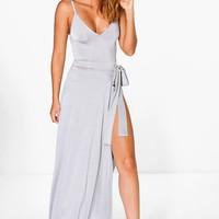 Sheeva Slinky Strappy Side Tie Maxi Dress | Boohoo