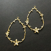 Branch 24k Gold Charms | Gold Plated Brass Charm | Jewelry Making Supplies Beading Bracelet Earrings Pendant  Keychain (22x34mm) 2pcs CH01