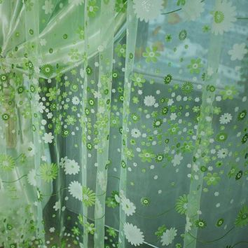 Vogue Floral Voile Door Window Tulle Curtain Scarf Drape Panel Sheer Valances