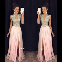 elegant pink long evening dresses 2017 high slit crystal beaded chiffon women pageant gown  formal prom gown vestido de festa