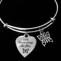 Brave Wings She Flies Adjustable Bracelet Expandable Silver Charm Bangle Inspirational Gift