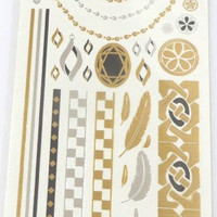 Temporary Metallic Jewelry Gold Silver Flash Tattoos - Variation 5