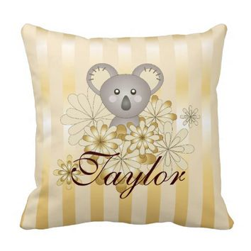 Cute Baby Koala Gold Striped Personalized Kids Throw Pillow