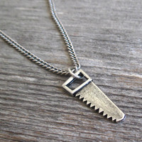 Men's Necklace - Blackend Silver Plated Saw Pendant - Mens Jewelry - Mens Cool Jewelry - Gift For Him