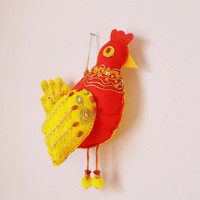 Felt Chicken Hen Bird Wall Hanging Decor, Easter Felt Wall Decor, Red Yellow Hen Ornament, Stuffed Toy Kids Nursery Children Room Decor
