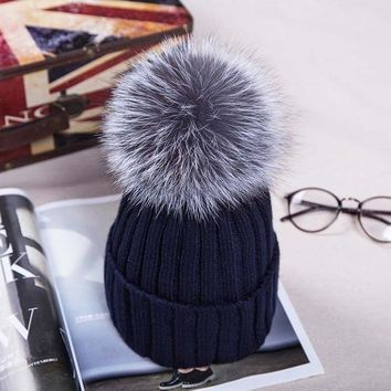 Pompom Beanie, Silver Fox Fur Ball. Fabulous Quality, Warm!