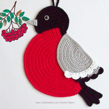 030 Bullfinch potholder decor - Amigurumi Crochet Pattern PDF file by Zabelina Etsy