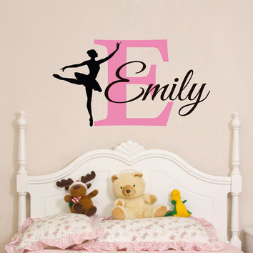 Initial Name Wall Decal- Ballerina Wall Decal Personalized Initial Girl Name Monogram Nursery Kids Girls Room Bedroom Wall Art Decor M055