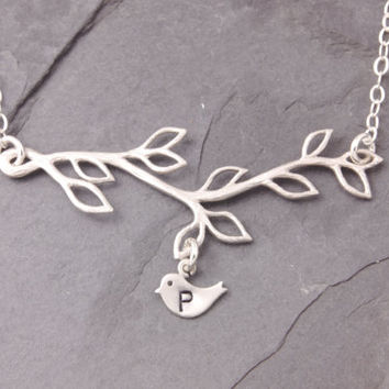 Baby Initial Necklace, 1 to 9 kids, initial necklace, mommy necklace, silver, mom necklace, mothers day jewelry, new mom necklace, N11-2
