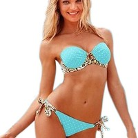 Sexy And Cute Coexist Women's 2 pcs Strapless Bikini Set-Blue And Leopard Print