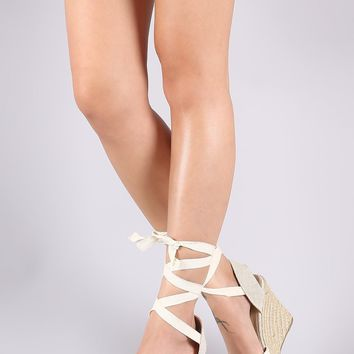 Wild Diva Lounge Crochet Lace Up Espadrille Wedge