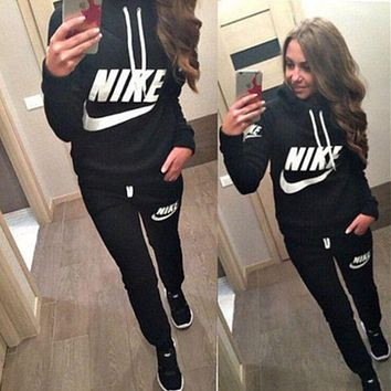 VONE05 Nike Casual Print Hoodie Sweater Pants Trousers Set Two-Piece